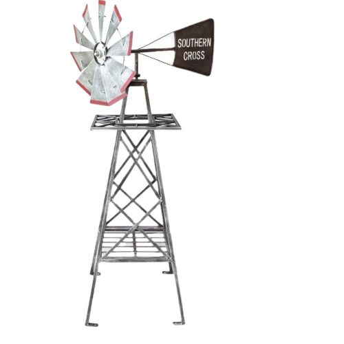 Big Rustic Grey Heavy Duty Metal Garden Windmill