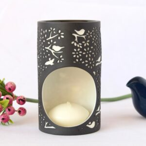 Birds On Tree Black Porcelain Oil Burner