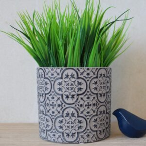 Black And Grey Mandala Terracotta Pot Planter