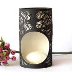Black And White Monstera Leaves Porcelain Oil Burner