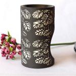 Black And White Monstera Leaves Porcelain Oil Burner_1