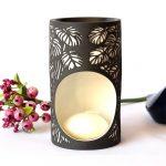 Black And White Monstera Leaves Porcelain Oil Burner_2
