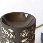 Black And White Monstera Leaves Porcelain Oil Burner_3