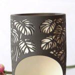 Black And White Monstera Leaves Porcelain Oil Burner_4