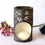 Black And White Monstera Leaves Porcelain Oil Burner