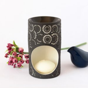 Black And White Moroccan Circles Porcelain Oil Burner