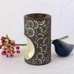 Black And White Moroccan Circles Porcelain Oil Burner_3