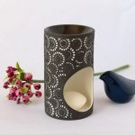 Black And White Moroccan Circles Porcelain Oil Burner_5