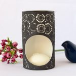 Black And White Moroccan Circles Porcelain Oil Burner_7