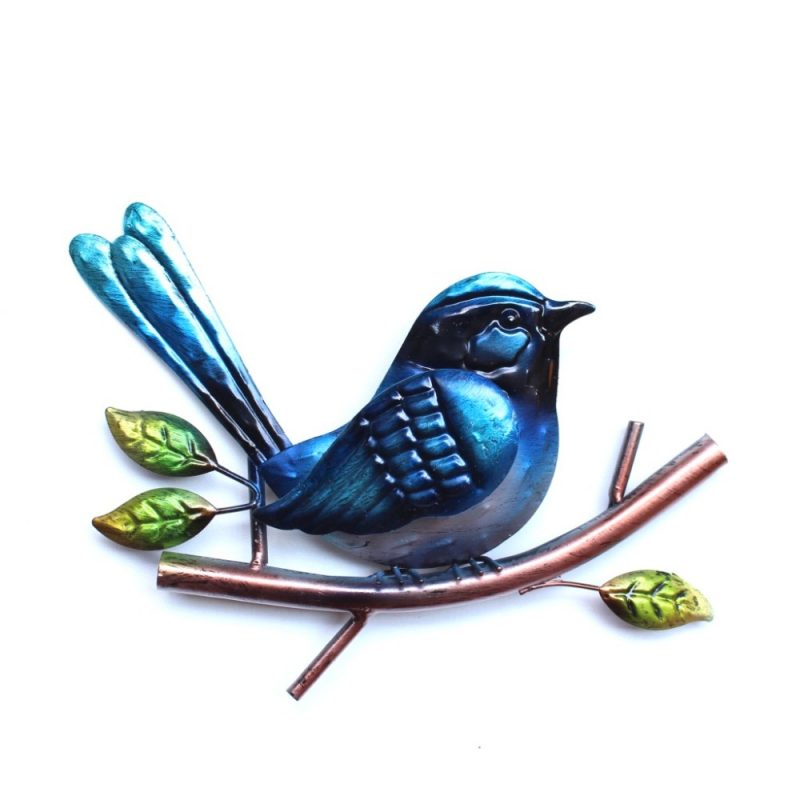 Blue Wren Bird Metal Wall Art