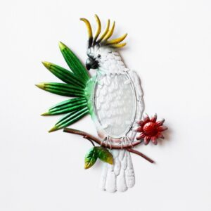 Australian Cockatoo Bird On Tree Leaves Metal Wall Art