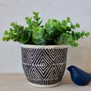 Cream And Black Aztec Terracotta Pot Planter