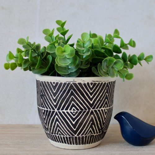 Cream And Black Aztec Terracotta Pot Planter
