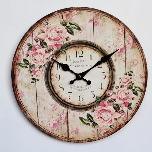 French Vintage Pink Floral Hanging Wall Clock