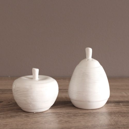 Glossy White Apple And Pear Salt And Pepper Shakers