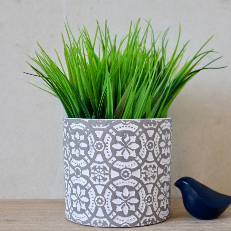 Grey White Flower Pattern Terracotta Pot Planter
