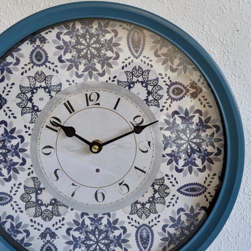 Hamptons Blue Mandala White Metal Wall Clock
