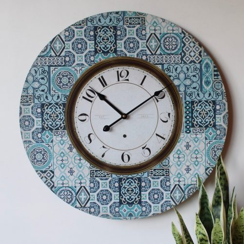 Large Blue And White Moroccan Wooden Wall Clock