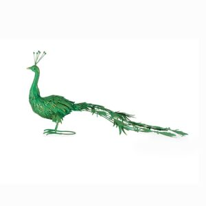 Large Green And Gold Metal Peacock Bird Figurine