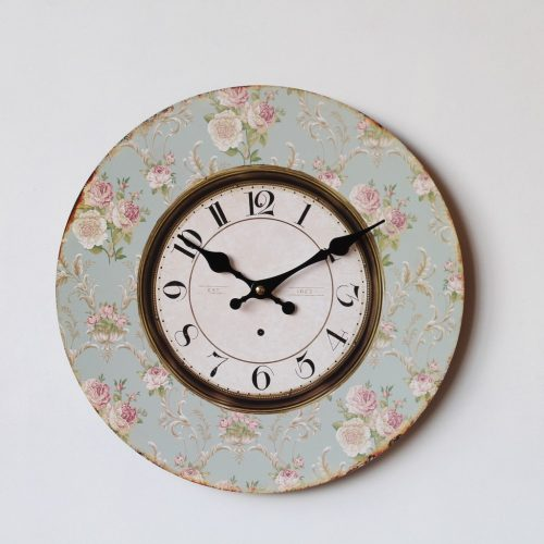 Moroccan Mint Green Floral Wooden Wall Clock