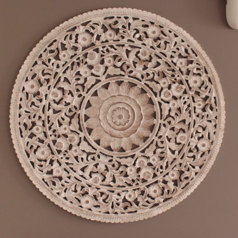 Rustic White Wood Carved Floral Mandala Wall Panel