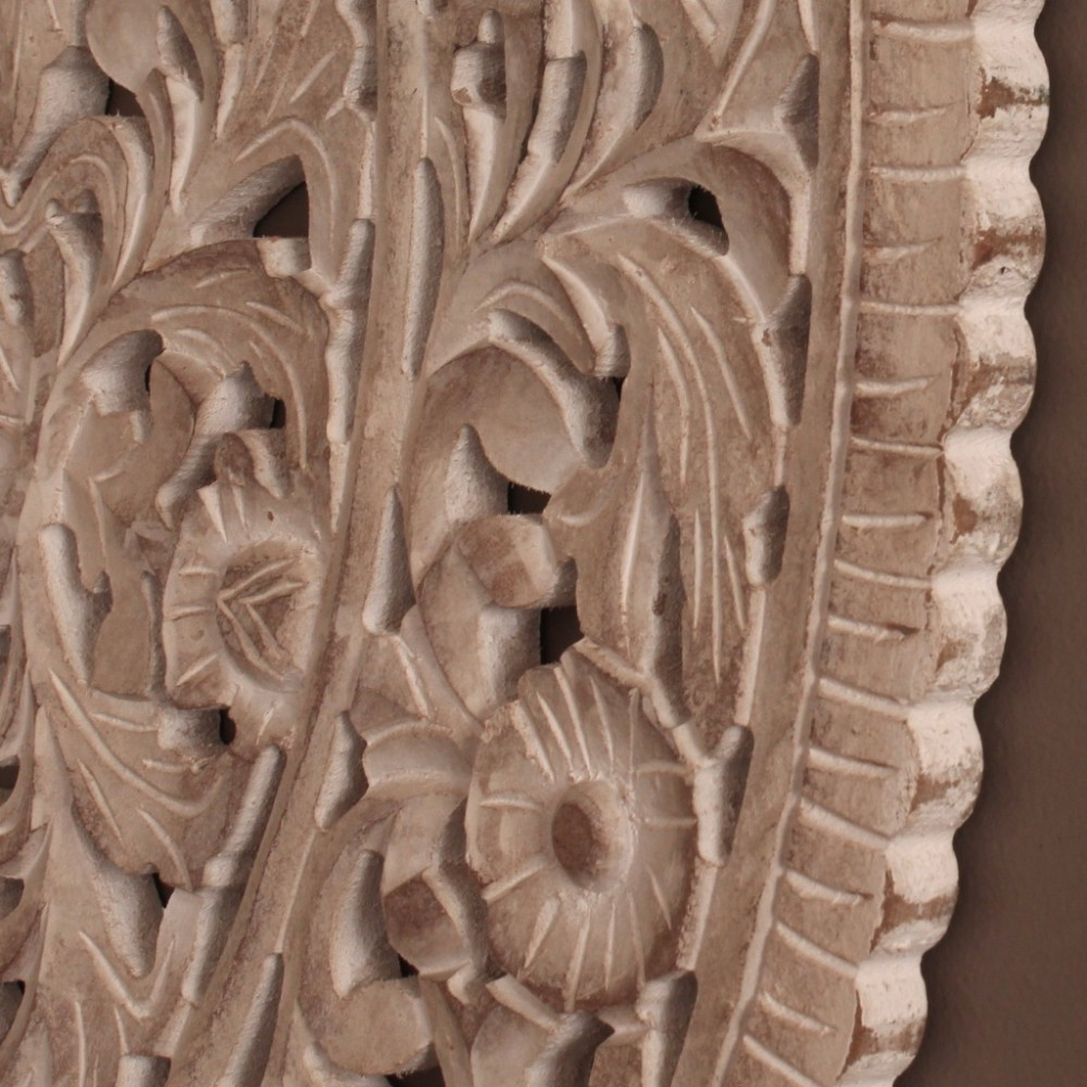 Rustic White Wood Carved Floral Mandala Wall Panel Dalisay