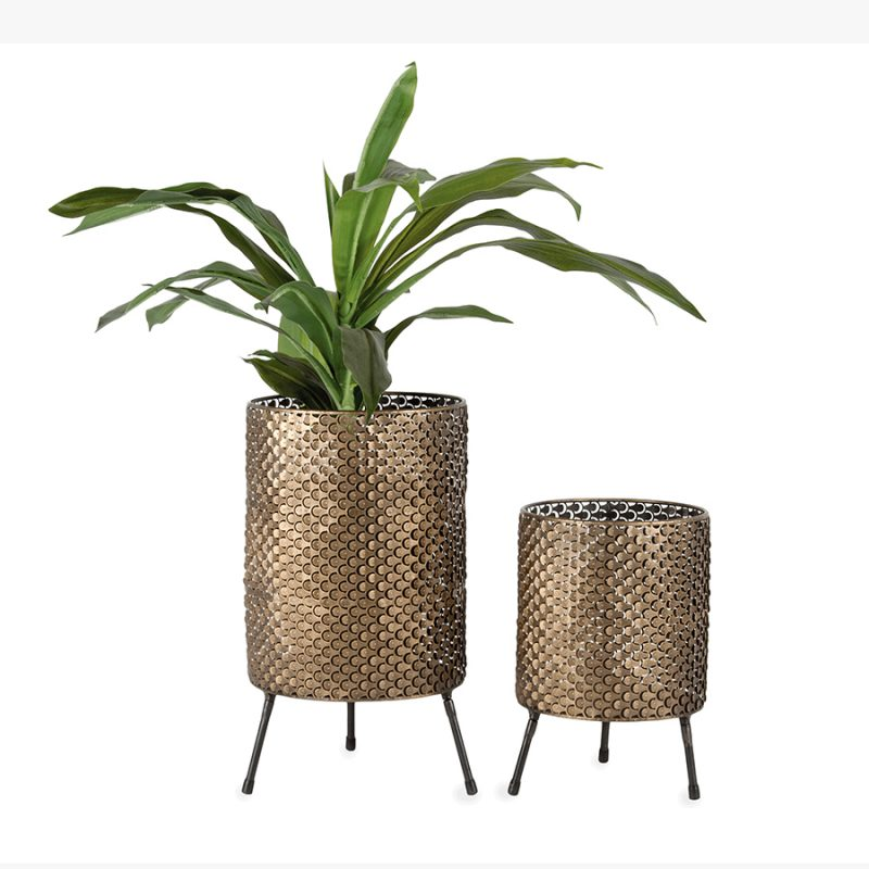 Set of 2 Distressed Gold Metal Retro Leg Pot Planters