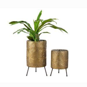 Set of 2 Distressed Gold Metal Retro Pot Planters