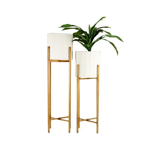 Set of 2 Luxe Gold And White Metal Pot Planters