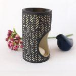 Tropical Leaf Pattern Black Porcelain Oil Burner_2