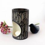 Tropical Leaf Pattern Black Porcelain Oil Burner_9