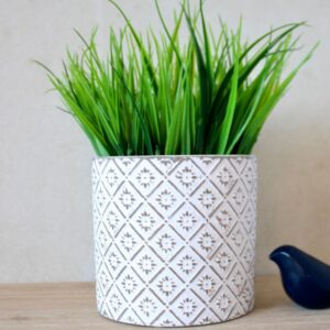 White And Grey Moroccan Terracotta Pot Planter