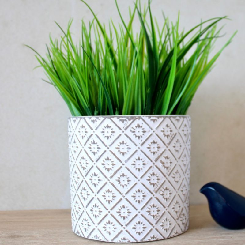 White And Grey Moroccan Terracotta Pot Planter