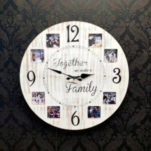 8 Photo Panel Rustic White Wooden Large Wall Clock