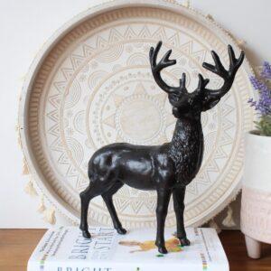 Antique Cast Iron Black Standing Deer Figurine