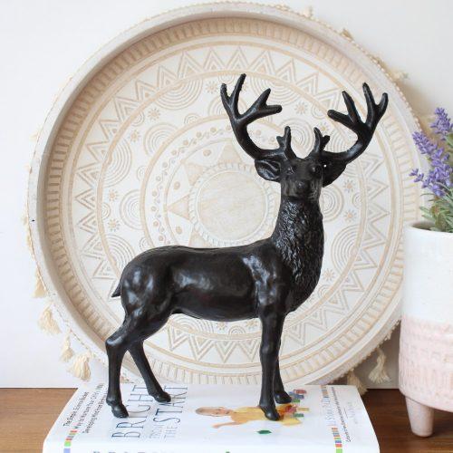 Antique Cast Iron Black Standing Deer Figurine_1