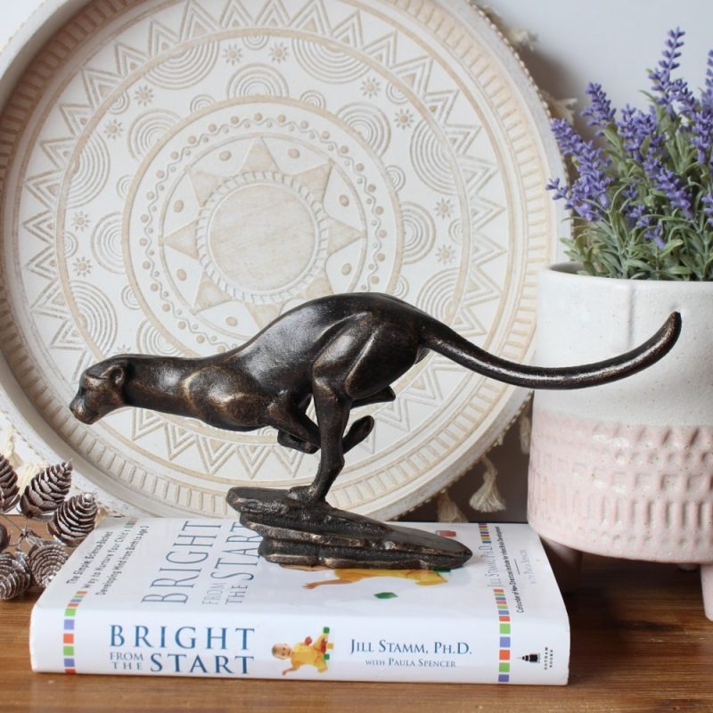 Antique Cast Iron Golden Black Jaguar Figurine