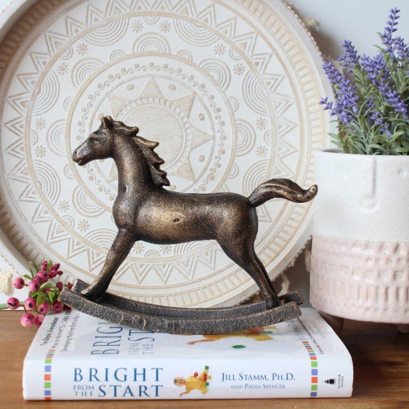 Antique Cast Iron Golden Rocking Horse Statue
