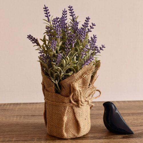 Artificial Lavender Flowers Plant in Sack Pot Planter