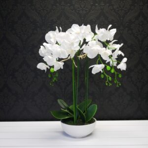 Artificial Yellow Stem White Orchid Plant with Pot