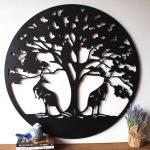 Australian Kangaroos Under Tree Of Life Metal Wall Art