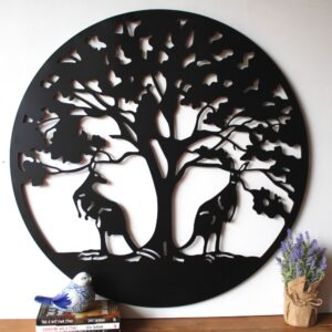 Australian Kangaroos Under Tree Of Life Metal Wall Art