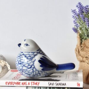 Big Hamptons Ceramic Glossy Blue Bird Figurine