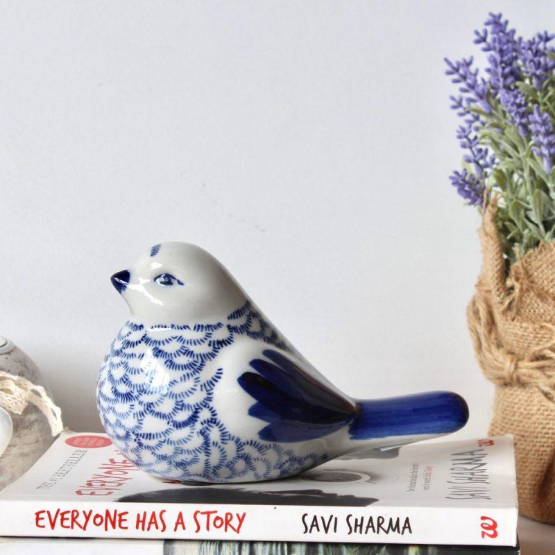 Big Hamptons Ceramic Glossy Blue Bird Figurine