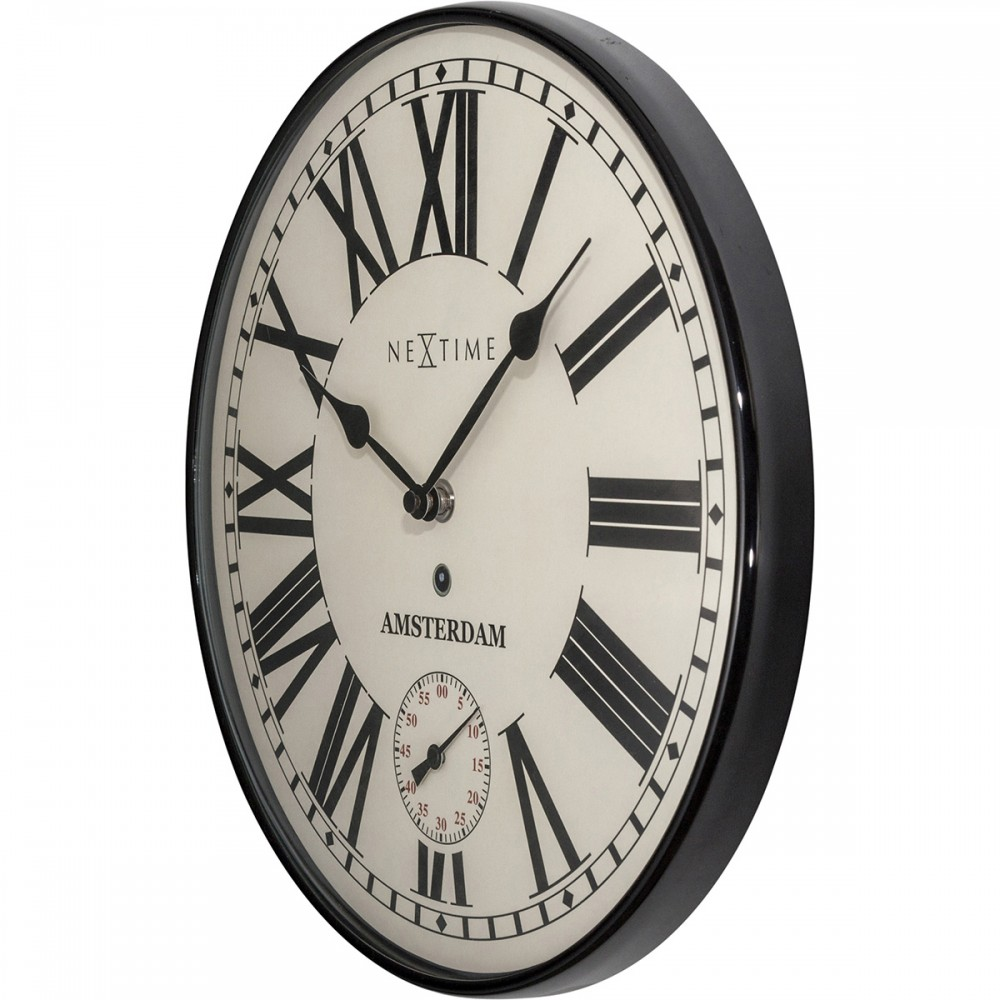 Black And White Nextime Glass Silent Wall Clock 30cm Dalisay