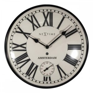 Black And White Nextime Glass Silent Wall Clock