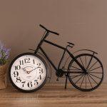 Black Bicycle Metal Glass Desk Table Wall Clock