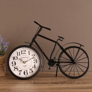 Black Bicycle Metal Glass Desk Table Wall Clock