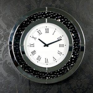 Black Crystal Diamonds Round Mirror Wall Clock