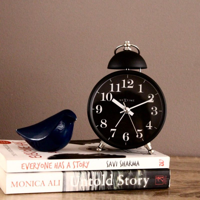 Black Nextime Single Bell Silent Metal Alarm Clock